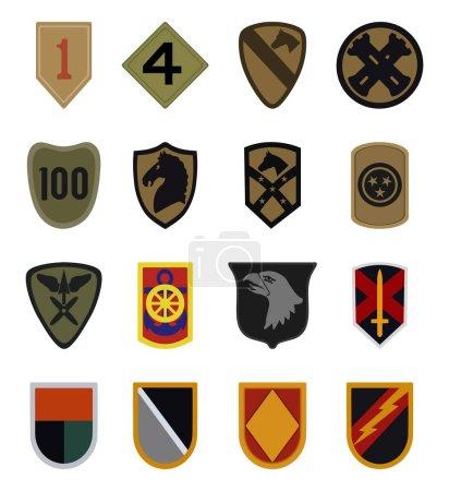 Illustration pour Ensemble vectoriel de 16 patchs militaires isolés sur fond blanc - image libre de droit