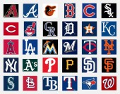MILAN ITALY - DICEMBER 13 2018: Official high quality vector cap insignia logo collection of the 30 Major League Baseball (MLB) teams isolated on white background