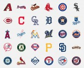MILAN ITALY - DICEMBER 13 2018: Official high quality vector logos collection of the 30 Major League Baseball (MLB) teams isolated on white background