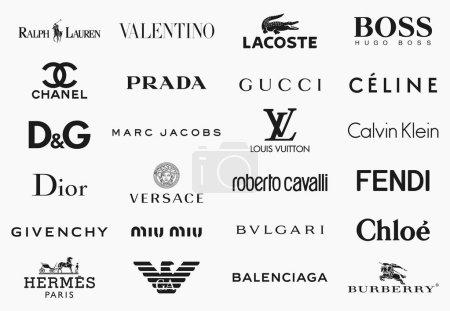 Illustration pour Milan, Italie - 17 décembre 2018: Vector logos collection des 24 plus grandes marques de mode dans le monde - image libre de droit