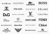 MILAN ITALY - DECEMBER 17 2018: Vector logos collection of the 24 most famous fashion brands in the world
