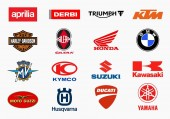 MILAN ITALY - DECEMBER 17 2018: Vector set of the major motorcycles producers in the world high quality logo collection