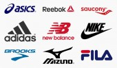 MILAN ITALY - DECEMBER 21 2018: Vector set collection of the 9 most important running shoes producers in the world logos