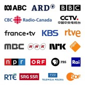 Public television broadcasters in the world high quality vector logo collection set