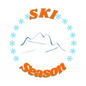 An advertising banner for the start of the winter ski season Blue contour of mountains between snowflakes