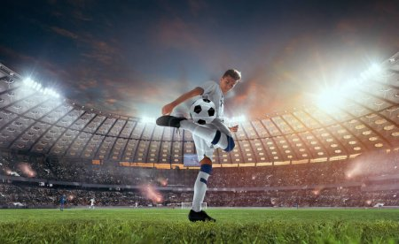 Photo for Soccer players in action on professional stadium. - Royalty Free Image