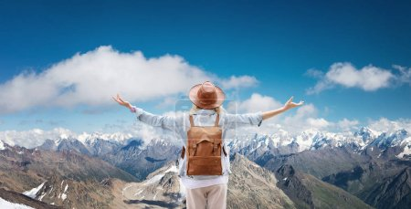 Photo for Traveler at the mountains landscape Travel and active life concept. Adventure and travel in the mountains region. People with backpack as a traveler - Royalty Free Image