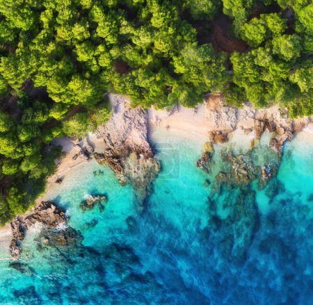Photo for Croatia. Coast as a background from top view. Turquoise water background from top view. Summer seascape from air. Travel - image - Royalty Free Image