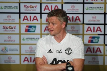 Photo for Kallang-singapore-19jul2019:Ole gunnar solskjaer manager of manchester united in action during press conference before icc2019 at national stadium,singapore - Royalty Free Image