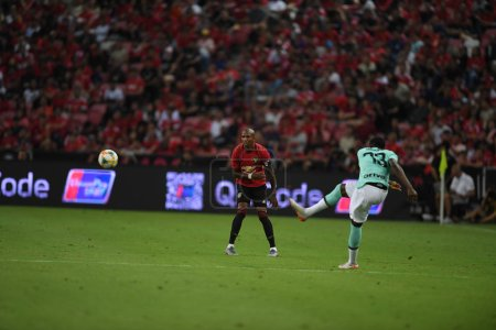 Photo for Kallang-singapore-20jul2019:Ashley young #18 player of manchester united in action during icc2019 between manchester united 1-0 inter milan at national stadium,singapore - Royalty Free Image