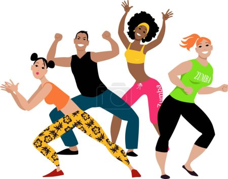Illustration for Diverse group of four young people doing zumba workout, EPS 8 vector illustration - Royalty Free Image