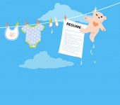 Job applicant resume hanging on a clothesline together with baby clothing as a metaphor for a maternity leave EPS 8 vector illustration