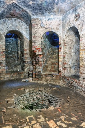 Photo for Ancient catacombs - stone arches with stairs. - Royalty Free Image
