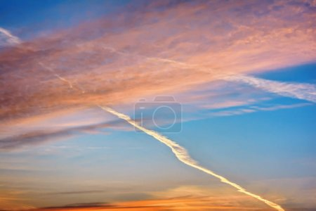 Photo for Clouds on blue sky at sunset. - Royalty Free Image