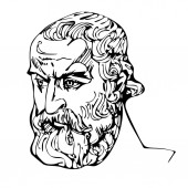 Black and white drawing of a portrait of the ancient Greek philosopher Diogenes