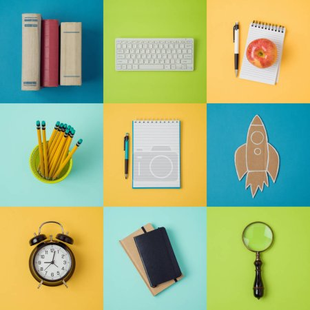 Back to school background with organized school supplies. View from above. Flat lay