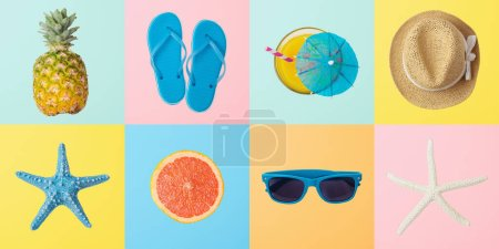 Photo for Summer creative background with summer objects. Top view from above - Royalty Free Image