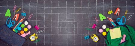Photo for Back to school background with bag backpack, pencil case and school supplies over chalkboard. Top view from above - Royalty Free Image