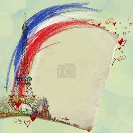 Beautiful Paris Postcard. City of love and romanticism.