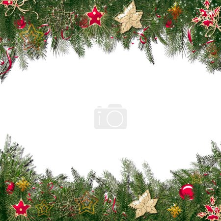 Christmas greeting card with fir tree branches background.