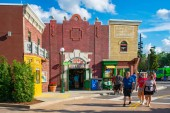 Orlando, Florida. April 7, 2019. Panoramic view of Sesame Street building and people walking at Seaworld in International Drive area.