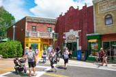 Orlando, Florida. April 7, 2019. People walking in colorful Sesame Street area at Seaworld in International Drive area (1)