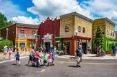 Orlando, Florida. April 7, 2019. People walking in colorful Sesame Street area at Seaworld in International Drive area (2)