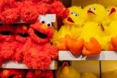 Orlando, Florida. April 7, 2019. Big Bird and Elmo plushies at Sesame Street store at Seaworld in International Drive area