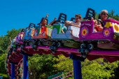 Orlando, Florida. April 0, 2019. People enjoying Cookie Drop rollercoaster family friendly at Seaworld in International Drive area (4).