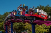 Orlando, Florida. April 0, 2019. People enjoying Cookie Drop rollercoaster family friendly at Seaworld in International Drive area (3)