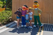 Orlando, Florida. April 20, 2019. People with Bert and Ernie in Sesame Street area. at Seaworld in International Drive area