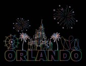 Orlando colorful lettering on black backround  Vector with travel icons Travel Postcard