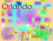 Orlando Icons multicolor line on abstract colorful background Roller Coaster Big Wheel Castle and fireworks