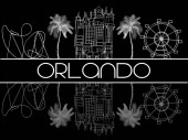 Orlando Florida; August 03 2018 Attractions Icons white line on black background