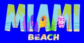 Miami beach lettering on colorful beach background with palm trees and surfboards Travel Postcard