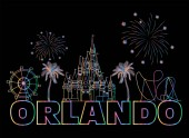 Orlando colorful lettering on black backround  Vector with travel icons and fireworks Art Postcard
