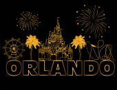 Orlando gold lettering on black backround  Vector with travel icons and fireworks Travel Postcard
