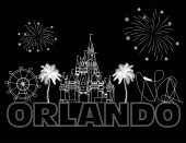 Orlando white lettering on black backround  Vector with travel icons and fireworks Travel Postcard
