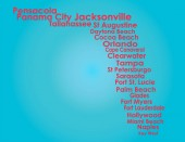 Florida Map with red letters on light blue backround