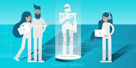 Illustration pour Jeunes scientifiques avec la programmation des ordinateurs portables et le contrôle humanoïde androïde Robot. Illustration vectorielle plate . - image libre de droit