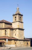 Romanesque church on the road in spanish basque country on a sunny day