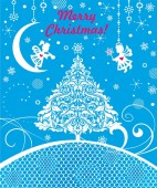 Craft blue Xmas greeting card with paper cutting little angels snowflakes Christmas tree and Christmas star