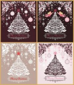 Ornate vintage Christmas greeting sweet cards variation with floral decorative paper cut out border xmas tree pink angels and hanging decoration with snowflakes and gingerbread