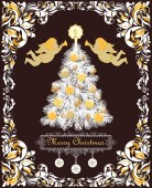 Ornate retro greeting Christmas card with vintage floral vignette for winter holidays with paper cut out Xmas tree with golden cone candle balls and paper handmade snowflakes and gold angels