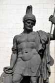 ncient warrior on the triumphal arch in Moscow on Kutuzov Avenue