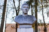 Detchino, Russia - March 2016: Monument to N. Alpatov - the hero of the Great Patriotic War of 1941-1945 in the village of Detchino