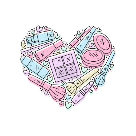 Vector hand drawn illustration of cosmetics in the...