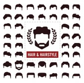 Set of hair silhouettesman and woman hairstyle 01