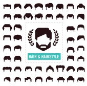 Set of hair silhouettesman and woman hairstyle 02