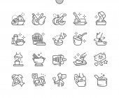Cooking Well-crafted Pixel Perfect Vector Thin Line Icons 30 2x Grid for Web Graphics and Apps